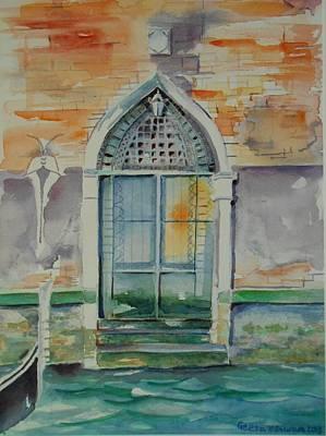 Door In Venice-italy Print by Geeta Biswas