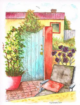 Venice Beach Painting - Door With An Orange Pillow In Venice Channels, California by Carlos G Groppa