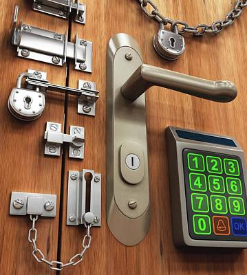 Keypad Photograph - Door With Various Locks by Ktsdesign