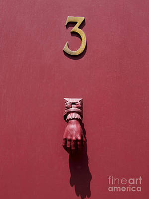 Doorknocker And Number Three On A Red Door. France. Europe. Print by Bernard Jaubert