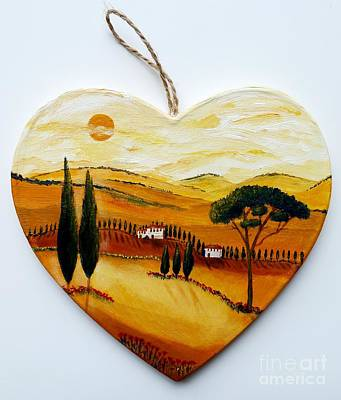 Cypress Painting - Doorplate Tuscany Heart by Christine Huwer
