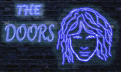 Doors Neon Print by Michael Cleere