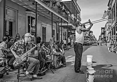 Doreen's Jazz New Orleans - Oil Bw Print by Steve Harrington