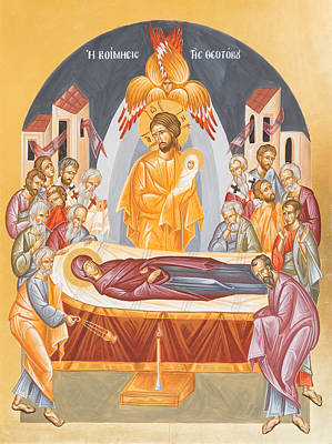 Byzantine Icon Painting - Dormition Of The Theotokos by Julia Bridget Hayes