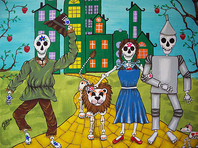 Dorothy And Friends On The Yellow Brick Road Print by Julie Ellison