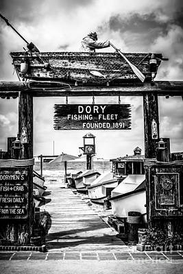 Dory Fishing Fleet Market Black And White Picture Print by Paul Velgos