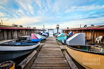 Dory Fishing Fleet Newport Beach California Print by Paul Velgos