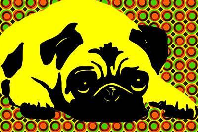 Pug Digital Art - Dottie by Cindy Edwards