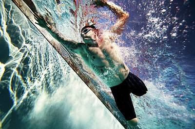 Freestyle Photograph - Double Amputee Swimming by U.s. Marine Corps