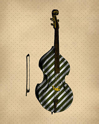 Double Bass Vintage Illustration Print by Flo Karp