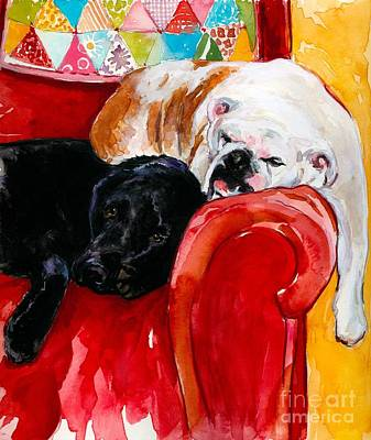 English Bulldog Painting - Double Decker by Molly Poole