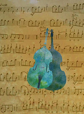 Double Double Bass On Score Print by Jenny Armitage
