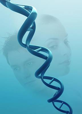 Double Helix And People Print by Victor Habbick Visions