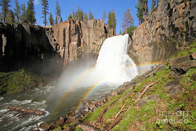 Devils Postpile Photograph - Double Rainbow Falls by Adam Jewell