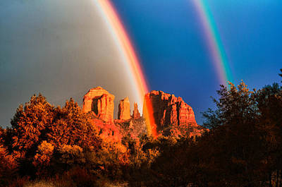 Double Rainbow On Cathedral Rock Print by Linda Pulvermacher