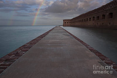 Storm Clouds Sunset Twilight Water Photograph - Double Rainbow Over Fort Jefferson by Keith Kapple