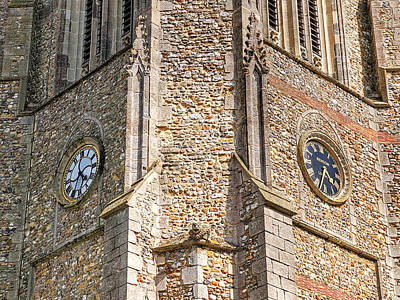 Double Time - Church Clocks Print by Gill Billington