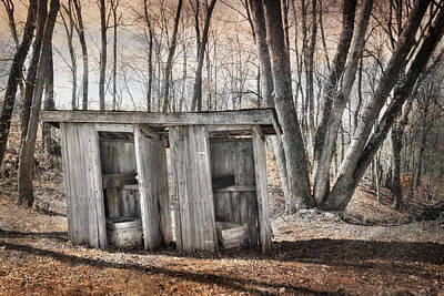 Antique Outhouse Photograph - Double Trouble by Lori Deiter