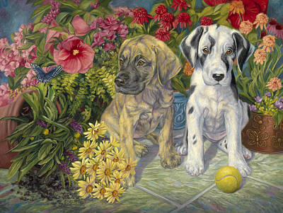 Tennis Ball Painting - Double Trouble by Lucie Bilodeau