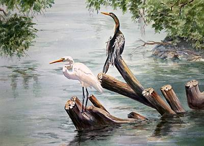 Anhinga Painting - Double Trouble by Roxanne Tobaison