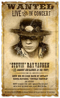 Fender Strat Digital Art - S. R. V. Wanted Poster 2 by Gary Bodnar