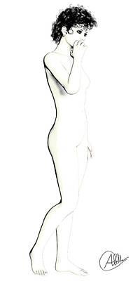 Drawing Girl By Quim Abella Print by Quim Abella