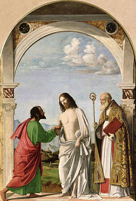 Doubt Painting - Doubting Thomas With St. Magnus by Giovanni Battista Cima da Conegliano