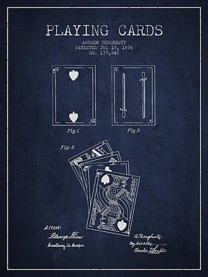 Dougherty Playing Cards Patent Drawing From 1876 - Navy Blue Print by Aged Pixel