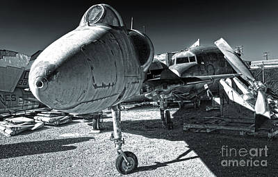 Douglas Skyhawk A-4b - Black And White Print by Gregory Dyer