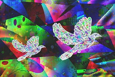 Dove-freedom And Peace Print by Govindji Patel
