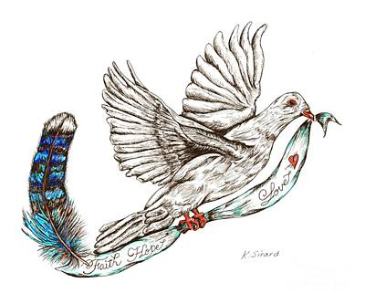 Faith Hope And Love Drawing - Dove by Karen Sirard