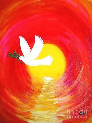 Forgiveness Painting - Dove Of Peace by Karen Jane Jones