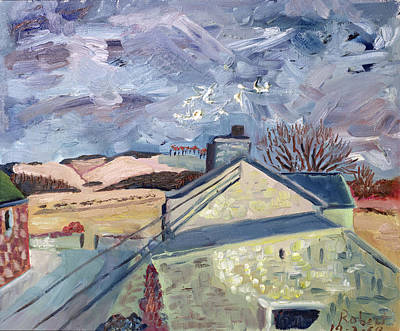 Rooftop Photograph - Doves At High Barns, 1998 Oil On Canvas by Robert Hobhouse