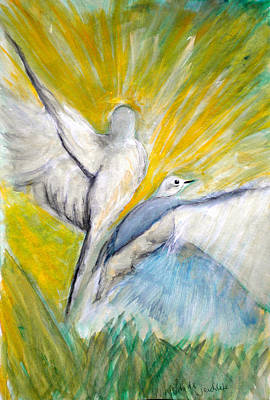 Doves At Sunrise Print by Linda Waidelich
