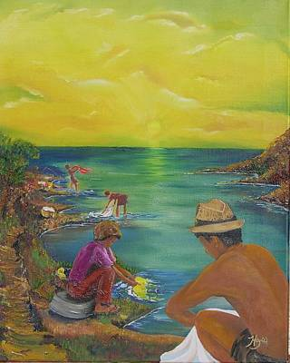 Phthalo Green Painting - Down By The River by Barbara Hayes