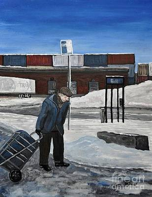 Point St. Charles Painting - Down By The Train Yards by Reb Frost