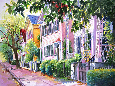 Charleston Houses Painting - Down On Franklin Street by Alice Grimsley