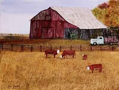 Kansas Artist Painting - Down On The Farm by Larry E  Lamb