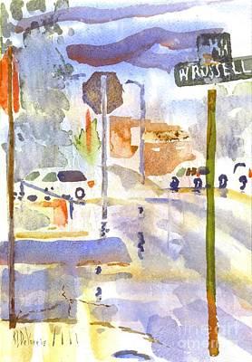 Main Street Corners Painting - Downpour by Kip DeVore