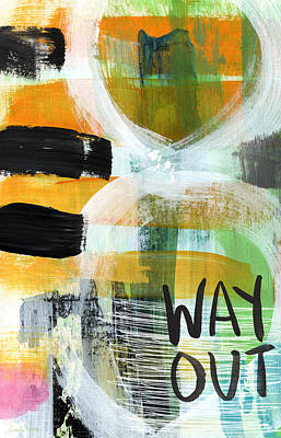 Black Abstract Art Mixed Media - Downtown- Abstract Expressionist Art by Linda Woods