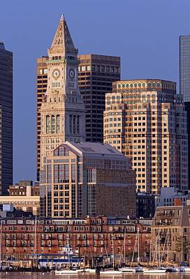Custom House Tower Print featuring the photograph Downtown Boston With Sail Boats by Juergen Roth