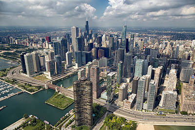 Helicopters Photograph - Downtown Chicago Aerial by Adam Romanowicz