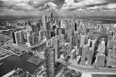 Downtown Chicago Aerial Black And White Print by Adam Romanowicz