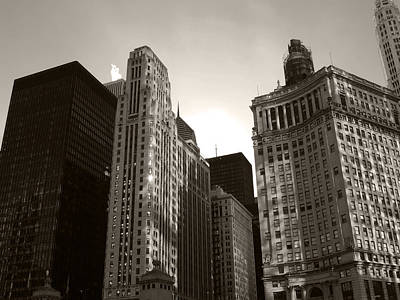 City Photograph - Downtown Chicago Black And White by Cityscape Photography