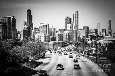 Downtown Chicago Lake Shore Drive In Black And White Print by Paul Velgos