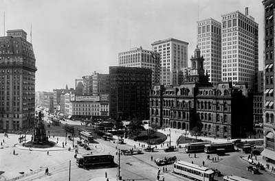 Trolly Photograph - Downtown Detroit 1915 by Mountain Dreams