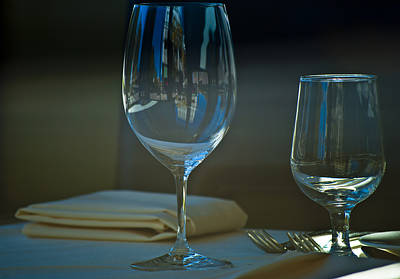 Glass Table Reflection Photograph - Downtown Dining by Christi Kraft