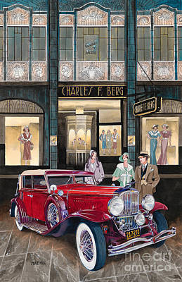 Mike Hill Painting - Downtown Duesenberg 1931 by Mike Hill