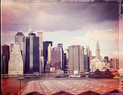 Downtown From Brooklyn Print by Frank Winters