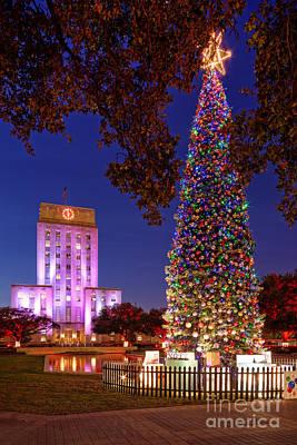 Downtown Houston Christmas Tree And City Hall At Twilight - Houston Texas Print by Silvio Ligutti